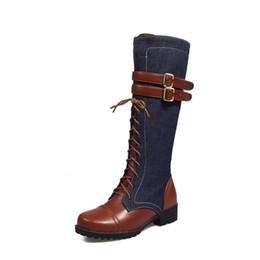 f2828b4ab8 saltos de renda denim Desconto GOXPACER Cores Misturadas Botas de Salto  Alto Sapatos Mulheres Cross-