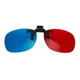 Óculos pendurados de plástico on-line-1 PC Novo Azul Vermelho de Plástico 3D Óculos Pendurados Moldura 3D Óculos Miopia Especial Tipo de Clipe Estéreo