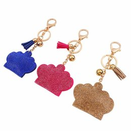 Wholesale Key Chain Crown - fashion cute crown imitation diamond key chains candy colors tassel penden vintage girl bag pendant creative key chains for women jewelry