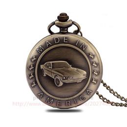 Wholesale Vintage Car Glass - Classic Style Pocket Watch Bronze Vintage Car Carved Pocket Watch Digital Dial Quartz Watch For Men