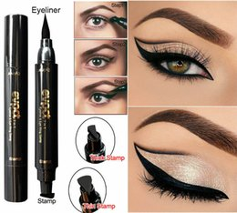 Wholesale Eyeliner Tattoo Pen - 2 in 1 Black Double Head Mark Seal Pen Liquid Eyeliner Pencil Stamp Point Tattoo Maquiagem Quick Dry Waterproof Eye Makeup Pen Tool
