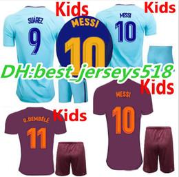 Wholesale Messi Jersey Kids - 17 18 kids MESSI SUAREZ soccer jersey best quality 3RD ARDA A.INIESTA SERGIO PIQUE I.RAKITIC O.DEMBELE 2017 2018 Children football shirts