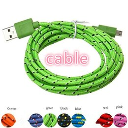 Wholesale White Mini Usb Cable - High quality 3 feet 6 feet 10 inches nylon braided rope mini USB charger fabric weaving data cable