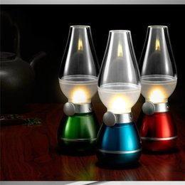 Wholesale Portable Fluorescent Lamps - portable Lamp Lamps Novelty Lighting USB Rechargeable Blowing Kerosene Adjustable Blow On-Off Night Light Home Decroration