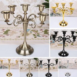 metal decorations for crafts Promo Codes - Metal Candle Holders For 5-arms   3-arms Candle Stand Candlelight Dinner Candelabra Wedding Party Christmas Candlestick Decor Craft HH7-1565
