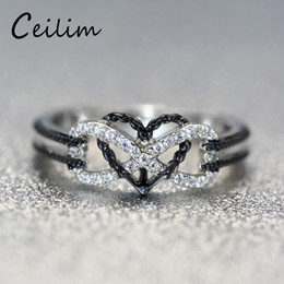 Wholesale Heart Motifs - 2018 New Fashion Exquisite Designer Jewelry Rings Infinite Love Motif Two-tone Anchor Heart Promise Wedding Engagement Ring For Women Gifts