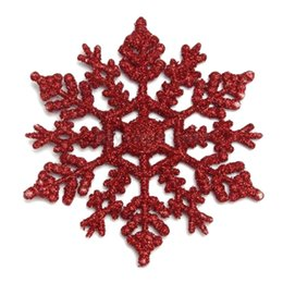 Wholesale Christmas Decorations For Windows - 6pcs Pack Plastic Glitter Snowflakes Ornaments For Xmas Christmas Tree Window Party Home Decoration