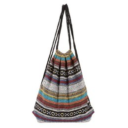 Wholesale Gypsy Chic - Wholesale- Handmade Women Vintage Backpack Woven Cotton Drawstring Backpack Gypsy Bohemian Boho Chic Hippie Folk Tribal Female Rucksack