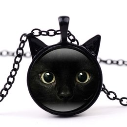 Wholesale face gemstones - 3 Colors Black Cat Glass Cabochon Necklace Animal Cat Face Frame Time Gemstone Jewelry Fashion Gift for Kids Gifts Drop shipping
