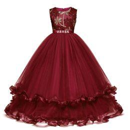 Petali per ragazza di fiori online-Bambini Fancy Girl Flower Petals Dress Bambini abiti da damigella d'onore Abito elegante per ragazza Vestido Party Prom Abito da principessa Costume