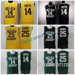 Wholesale Fresh Clothing - 2017 OF The Fresh Prince 14 Will Smith Jersey Men BEL-AIR Academy 25 Carlton Banks Jerseys Clothes (TV Sitcom) Green Yellow Black
