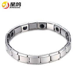 Wholesale Stainless Magnet - Fashion Silver Plated Health Magnetic Bracelet For Women Top Quality Stainless Steel Magnet Bracelets & Bangle link Chain Jewelry Wholesale