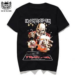Wholesale Iron Rocks - Rocksir New 3D Iron Maiden Printed T-shirt Black Metal Rock Cotton tshirts hop hop Casual Streetwear short sleeve tops tee homme