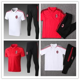 Wholesale first suits - Thailand quality 2018 AC Milan first class football 18 19 training suit jerseys short sleeved training uniform