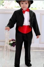 Faja de esmoquin online-Nuevas llegadas White / Black Tailcoat Peak Lapel Ropa formal para niños Ocasión Niños Tuxedos Trajes de fiesta de boda (Jacket + Pants + Girdle + Tie) 619
