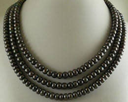 2019 colliers à trois rangs de perles noires Collier 3 rangs de perles d'eau douce noires naturelles 5x8mm avec boulier noir 18-20