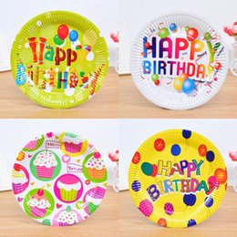 Wholesale Wholesale Party Paper Plates - Cartoon Disposable Round Paper Plate Children Kids Birthday Tableware Decoration Christmas Event Party Supplies