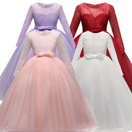 Wholesale Long Sleeve Girls Frock - Girls Long Dress Fancy Kids Crystal Dresses Flower Tutu Children Wedding Gowns Formal Prom Vestidos Baby Frocks for Girls