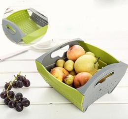 Wholesale Wholesale Fruit Baskets - Creative Fruit Vegetable Folding Draining Basket Collapsible Kitchen Strainer Colanders Save Space PP ECO Friendly Kitchen Tools Free Ship