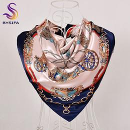 Bufanda azul marino online-[BYSIFA] Mujeres azul marino bufanda de seda del mantón de invierno Nueva Plaisley bufandas cuadradas Wraps 90 * 90 cm Primavera otoño musulmán cabeza bufanda Cabo