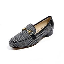 Wholesale Dress Shoes Wedding Vintage Women - Women Fashion Vintage Plaid Horsebit Shoes Lady Casual Flat Shoes Women Loafers