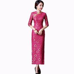 2019 сексуальная традиционная одежда Spring Autumn New Chinese Lady Lace Cheongsam Traditional Long Qipao Sexy Sheath Dress Vintage Club Wear S M L XL XXL XXXL дешево сексуальная традиционная одежда