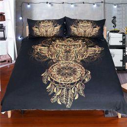 2019 комплекты постельного белья Hot sale 3D New  golden stars moon feather bronzing design 3Pcs USA AU bedding set twin full queen king size adult textile дешево комплекты постельного белья