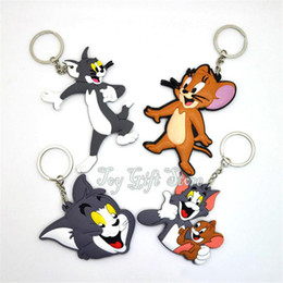 Wholesale toms style - Top New 4 Styles Tom Jerry Anime Collectible Best Pendants Party Gifts Cartoon Keyrings