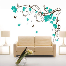 Wholesale tree life wall decal - Free shipping J3 Large Butterfly Vine Flower Vinyl Removable Wall Stickers Tree Wall Art Decals Mural for Living room Bedroom Home Decor