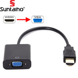 Wholesale Hdmi Analog Audio Converter - HDMI to VGA Cable HDMI Male to VGA Female RGB Analog Video Audio Converter Adapter Cables HD 1080P forPC Laptop DVD