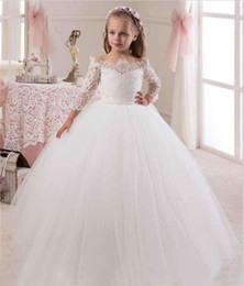 Wholesale Father Christmas Cover - 2018 Off Shoulder Long Sleeves Ball Gown Lace Flower Girls Dresses Covered button Full Length princess dress Lovely Glitz Pageant Gowns