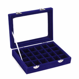 Wholesale Wholesale Jewelry Carrying Case - 24 Slots Velvet Women Desk Jewelry Storage Box Portable Ring Necklace Jewelry Carrying Case Women Home Storage Supplies 5 Colors
