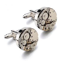 Reloj de engranaje steampunk online-Hot Steampunk Gear Gemelos de Movimiento Gemelos Para Mecanismo de Reloj Inamovible Gemelos Para Hombres Relojes Gemelos bijoux
