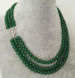 "Rotondo naturale smeraldo online-3Rows Natural 6mm Round Green Jade Emerald Gemstone collana di perline 17-19 ""AAA"