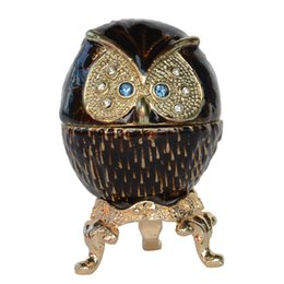 Wholesale pewter metals - Owl Pewter Jeweled Hinged Treasured Trinket Jewelry Box Collectible Figurines Creative Gifts