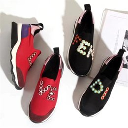 Wholesale Ladies Patchwork Shoes - 2018 New Fashion Women Spring Shoes Rivet Lycra Running Shoes Ladies Slip On Casual Sneakers Stretch Fabric C41