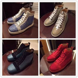 Wholesale Cheap Black High Top Shoes - New Designer High Top Crystal Studded Lace Up Causal Shoe Man Woman Cheap Sneaker Red Blue Black Flat Bottom Party Shoes Size 35-46