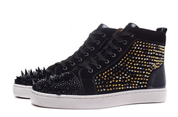 Wholesale Lace Paper Bags - [Original Box With Paper Bag]Geunine Leather Black Suede Red Bottom Sneakers Men High Top Shoes Big Mix Spike With Rhinestone Party Shoes