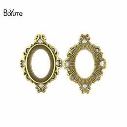 BoYuTe (40 Pièces / Lot) 25 * 18 MM Cabochon Base Vintage Diy Accessoires Pièces Antique Bronze Argent Style Ouest Blanc Pendentif Réglage Bijoux ? partir de fabricateur