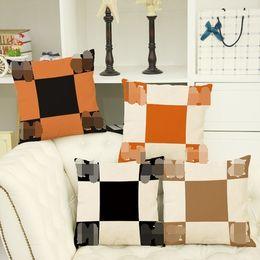 Wholesale blue pattern cushion - New Cushion pillow pillowcase luxury brand H pattern Plaid Linen Pillowcase Vintage Decorative Home Cotton Linen PillowCase Cover Living