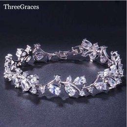 chaîne bracelet en diamant Promotion ThreeGraces Romantique CZ Bijoux Feuille Et Fleur Zircone De Mariée Mariage Bracelets Cadeau Pour Demoiselle D'honneur BR031