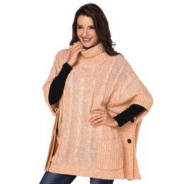 Mulheres em estilo poncho mulheres on-line-Outono Pullovers De Malha Mulheres Vintage Jumper Cinza Estilo De Bolso Gola Alta Pullovers Poncho Camisola Cardigans De Grandes Dimensões