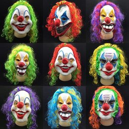 Wholesale Adult Joker Costumes - Scary Clown Mask Joker Men's Full Face Horror Funny Mask For Halloween Party Masquerade Costume Supplies P15