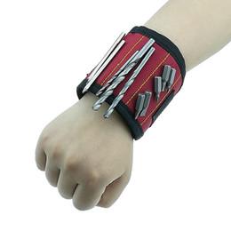 bohren führen Rabatt Polyester-magnetisches Armband-tragbarer Elektriker schraubt Nagel-Bohrgerät-Gurt-Armband-Schrauben-Installationssatz-magnetische Armband-Handwerkzeuge