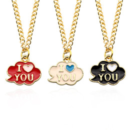 Wholesale Couple Necklace Black Gold - Black Red Pink Enamel Cloud Couple Necklaces For Lovers I Love You Pendants Heart Choker Necklace Fashion Golden Metal Jewelry