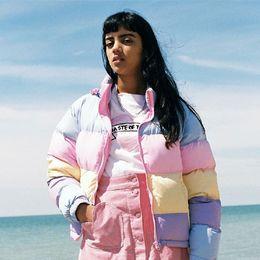 cappotto di lolita dolce Sconti carino kawaii lolita dolce vintage anni '90 pigro oaf macaron arcobaleno colori caldo cappotto donna giacche invernali cappotti corti