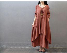 Wholesale Linen Dresses Large - Lady loose large size 5XL long sleeve cotton & linen long dress women plus big code solid color ruffle irregularity big pendulum long gown