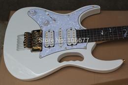 Argentina Accesorios de calidad superior calientes zurdos de Corea Ibz JEM 7V Steve Vai DiMarzio Floyd Rose White Guitarra eléctrica blanca Envío gratis Suministro