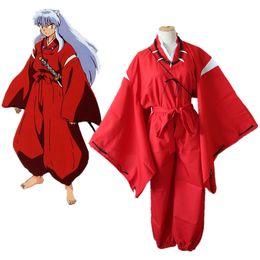 Anime kimonos rojo online-Anime japonés Inuyasha Sesshoumaru Disfraces de Cosplay Traje de Kimono rojo Traje de Cosplay Conjunto completo Disfraz de Halloween