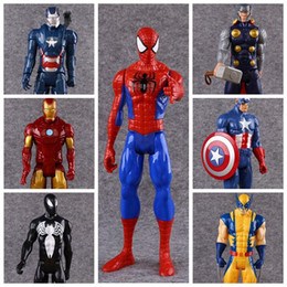 Wholesale Ironman Toys Figures - 7 Styles 30cm Captain America Ironman Avengers Model PVC Action Figure Super Hero Cartoon Collectable Toys CCA8654 20pcs